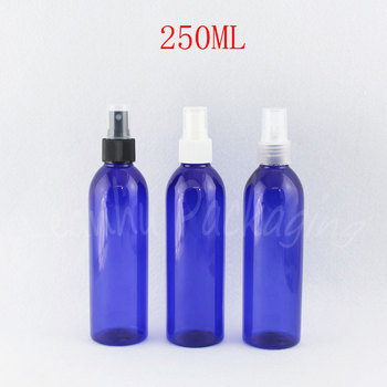 250ML Blue Round Plastic Bottle With Spray Pump , 250CC Toner / Water Packaging Bottle , Empty Cosmetic Container ( 26 PC/Lot )
