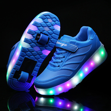 Two Wheels Luminous Sneakers Blue Pink Led Light Roller Skate Shoes for Children