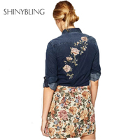 Spring Summer Clothes Women Jean Blouse Top Brand Fashion Floral Embroidery Shirts Long Sleeve Turn Down