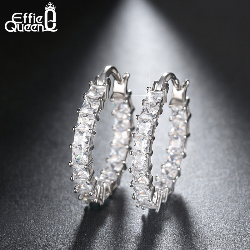 Effie Queen iso pyöreä vanne naaras korvakoru ikuisuus tyyli kiiltävä zircon bar asettaminen ylelliset korvakorut naisille tukku DE144  t