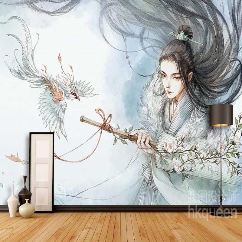 3D Photo Wallpaper Modern Cartoon Costume Man Sword Backdrop Living Room Study Room Wallpaper Office Decoration Mural