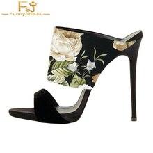 85a949d15cf FSJ Shoes Woman Sandals Thin High Heels Summer Mujer Wave Point Slippers  Women Fashion Flower Print