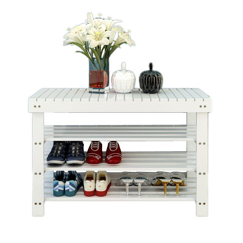 Фото wood fashion home simple modern storage dust Shoe replacement shoes stool