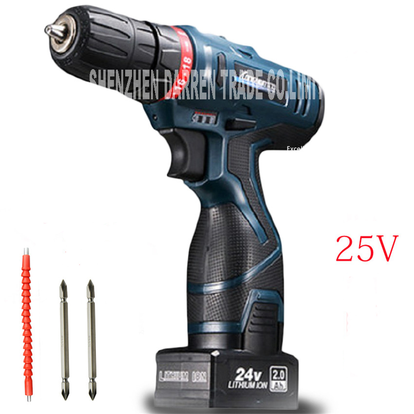 25V lithium battery drill hole hand font b Wireless b font Cordless electric drill bit driver