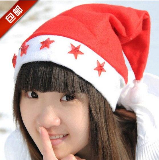 led flashing christmas hats xmas santa clauscap light up caps stars non woven