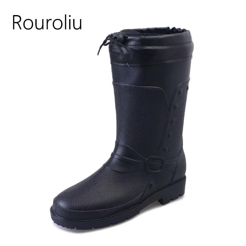 Rouroliu Men's Winter Boots Warm Socks Inserts Waterproof