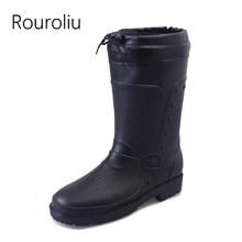Rouroliu Mens Winter Boots Warm Socks Inserts Waterproof Safety Work Shoes Man Wellies Autumn Mid-Calf Rain RT324