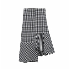 Korean Irregular Ruffles Houndstooth Skirt 2017 Summer Women Plaid Splice High Waist Fishtail Skirts Female Long Skirt Saias