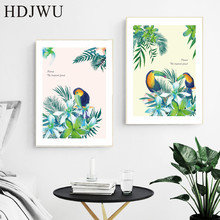 Nordic Art Home Canvas Painting Forest parrot trees Printing Posters Wall Pictures for Living Room AJ00119