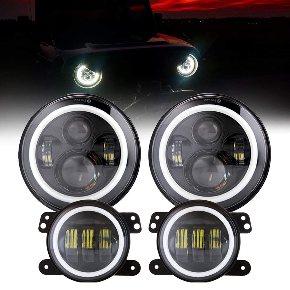 7 LED Halo Headlights with Turn Signal Amber White DRL 4 Fog Lights for Jeep Wrangler