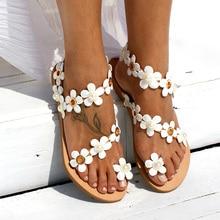 Women Sandals Bohemia Style Summer Shoes For Women Flat Sandals Beach Shoes 2019 Flowers Flip Flops Plus Size Chaussures Femme