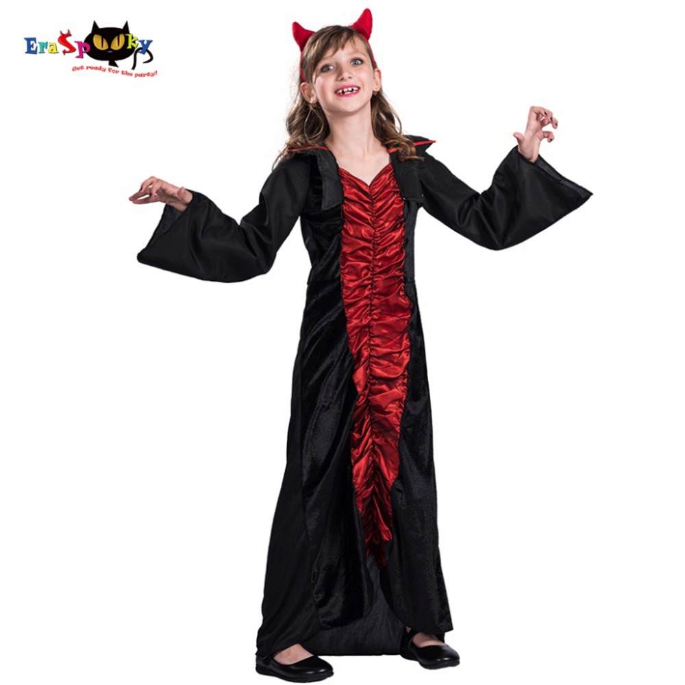 2017 High Quality Medieval Dresses Costumes Party CosplayLong Vampires Dress Kids Halloween Costumes Girls Vampire Costumes