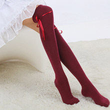 BONJEAN Hot Sale Fashion Womens Bow Over Knee Thigh High Soft Cotton stretch Socks Long Knitted Boot Hosiery Party Vaction Socks(China)