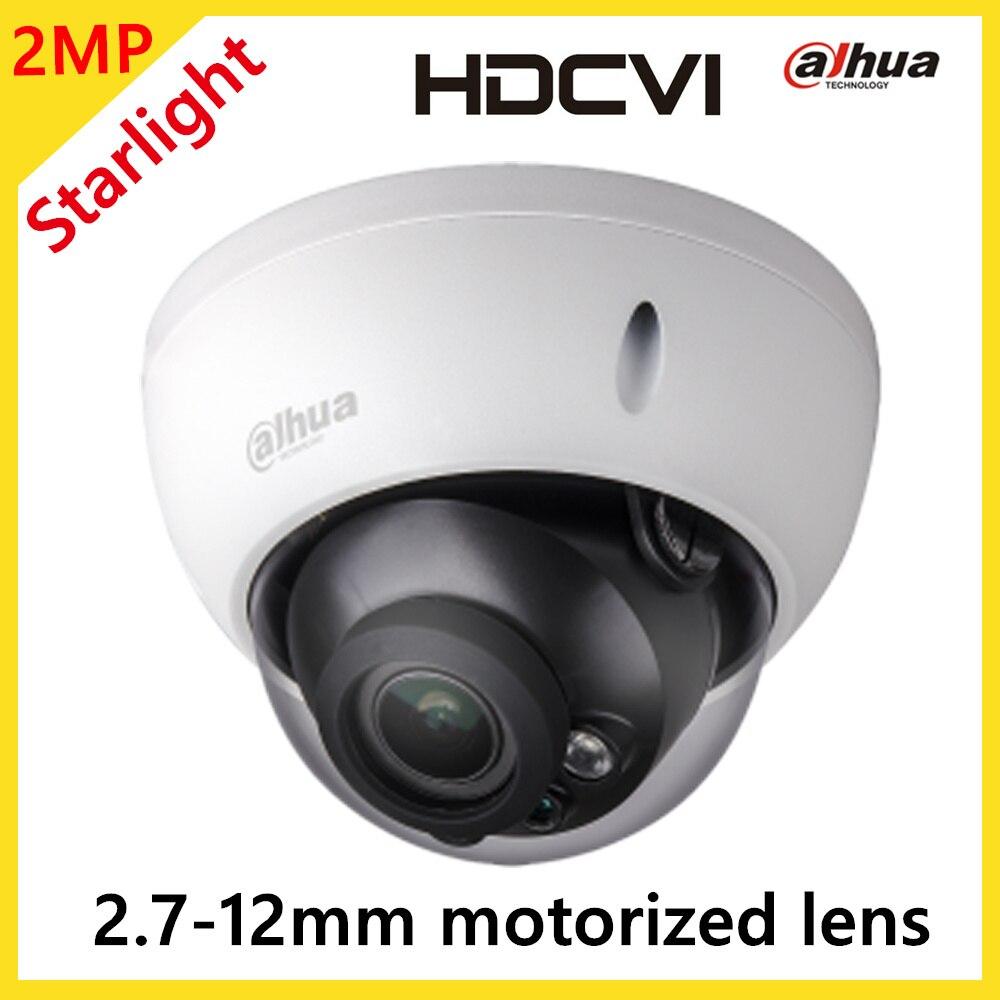 Dahua 2-МЕГАПИКСЕЛЬНАЯ Starlight HDCVI ИК Survillance Купольная Камера HDCVI Открытый Камеры Безопасности 2.7-12 мм Моторизованный Объектив HD и SD двойной Выход