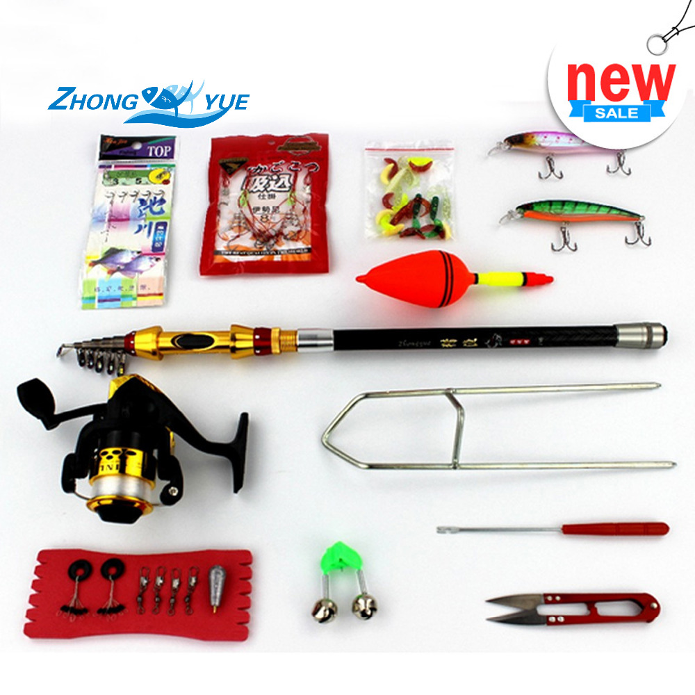 ФОТО Lure Rod Carbon  Fishing Rod Portable Foldable Travel Spinning Cheap Telescopic Rods Minnow Fishing Lures and Metal Reels Set