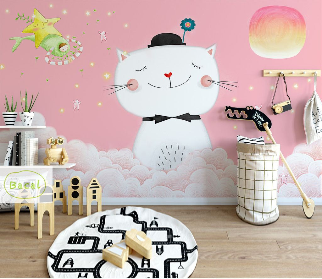 Cartoon Kids Removable Wall Sticker Nursery Home Decor 3D wallpaper for Girl Bedroom Living Room papier peint mural 3dCartoon Kids Removable Wall Sticker Nursery Home Decor 3D wallpaper for Girl Bedroom Living Room papier peint mural 3d