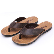 2019 New Genuine Leather Summer Beach Flip Flops Men Slippers Flats Sandals Outdoor Rubber Shoes Casual