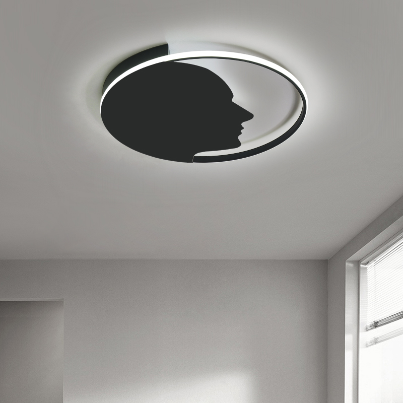 Round Black White Modern LED Ceiling Lamp for bedroom Living room hallways lustre plafonnier Lights LED ceiling lamp with remote
