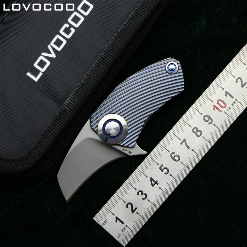LOVOCOO SiDis Parrot ball bearing S35VN blade TC4 Titanium Handle folding knife Hunting pocket outdoor camping knives EDC tools high quality zt0392 s35vn blade titanium alloy handle ball bearing system tactical folding knife hunting camping outdoors tool