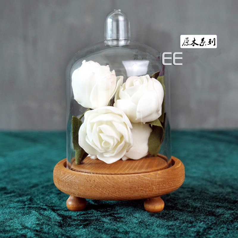Geconserveerde verse bloem houten basis decoratie transparante - Keuken, eetkamer en bar
