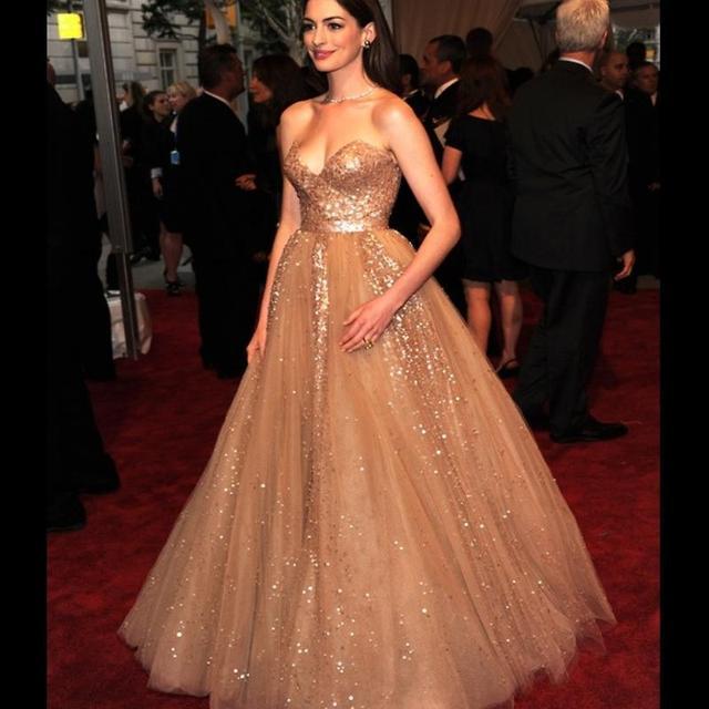 Custom Made Gold Sequined Long Elegant Prom Dresses 2016 Tails Ball ...