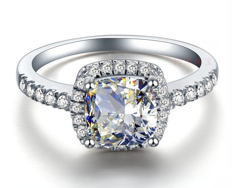 Assez 3CT coussin anneaux Set SONA synthétique diamant bague de  OG22