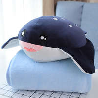 1pc 45cm soft shark whale Devil fish Plush Shark Soft Toy Whale Stuffed Toy with Blanket Sea Animal Peluches for Kids Children