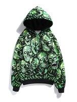 American high street fashion green skulls pile print hoodies men autumn spring terry head bone hooded sweatshirts male teenager