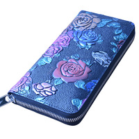 ONEFULL NEW HIGH QUALITY Women Genuine Leather Long Wallet Lady Retro National Wind Wallet Blue Credit