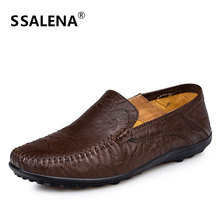Men Fashion Oxfords Casual Shoes Male Genuine Leather Slip On Flats Shoes Non-Slip Soft Sole Moccasins Shoes AA11560