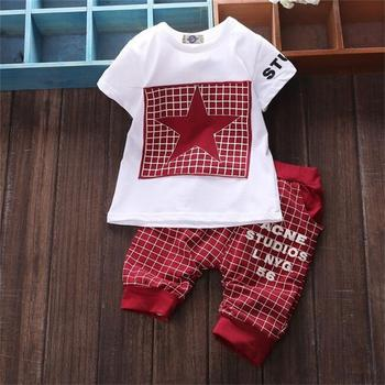 Baby Boy's Plaid Printed Summer Clothing Set 3