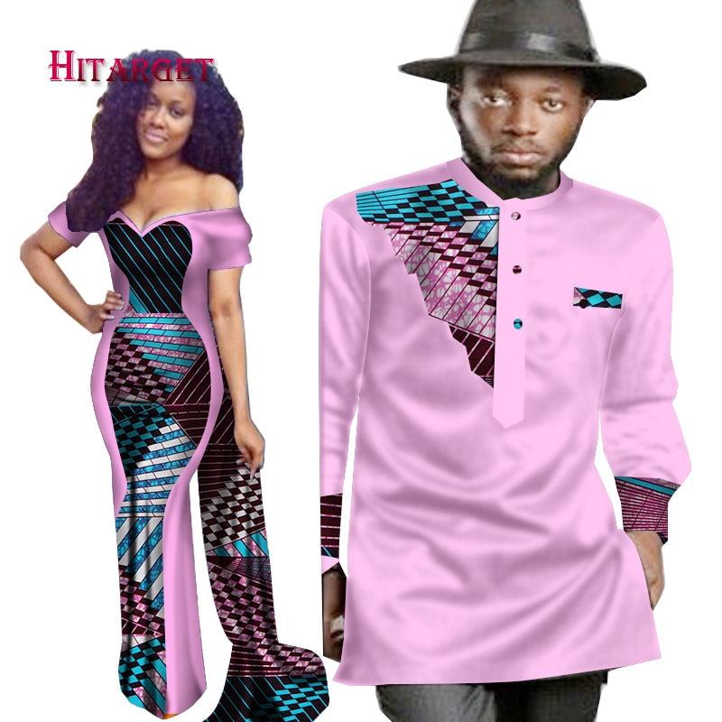 2018 Nouvelles Conceptions Couple pour Les Amateurs Mme Hommes Chemise Imprimé Africain Vêtements Couple Vêtements Robe + Hommes Chemise Africaine Hommes 6XL WYQ74