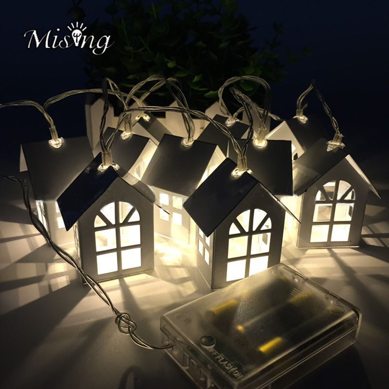 Mising 1 Meter 10 Lights 2XAA Battery Light String Halloween Decorated House Shape Metal Lights Outdoor Garden Party Decoration