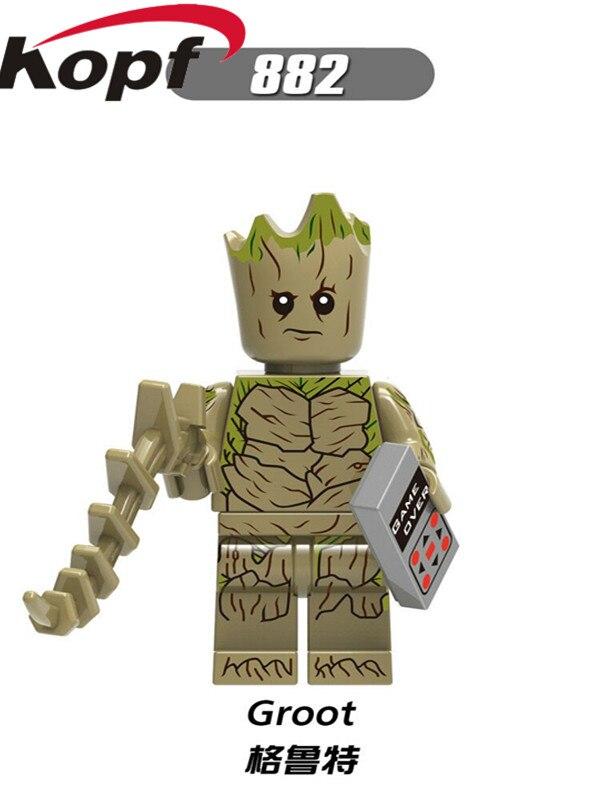 Single Sale Super Heroes Infinity War Tree Man Rocket Racoon Thanos Black Panther Building Blocks Best Children Gift Toys XH 882 single sale zodak rattlor he man masters ram man paker ske letor sorceress tri klops building blocks children gift toys pg8089