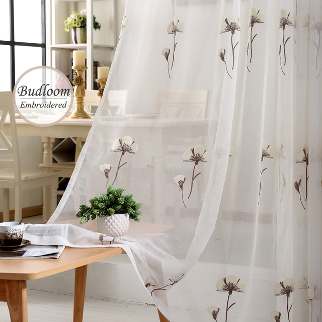 Pastoral Embroidered Tulle Curtains For Bedroom White Cotton Sheer Curtains  Home Window Drapes For Living Room