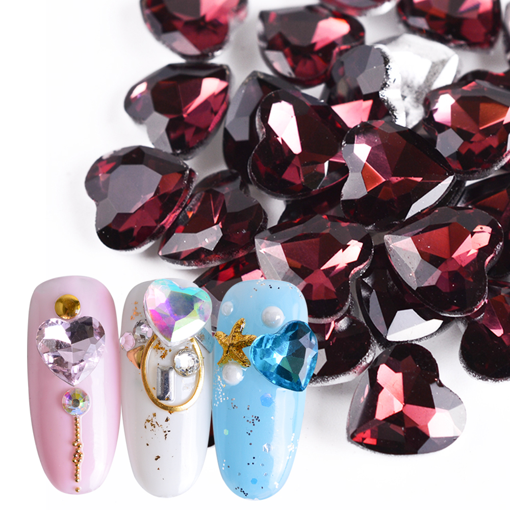 10pcs/Lot AB Color Nail Rhinestone Shiny Heart Iridescent Flakes 8 Colors 3D Valentine Nail Art Decoration Manicure Tips SA011