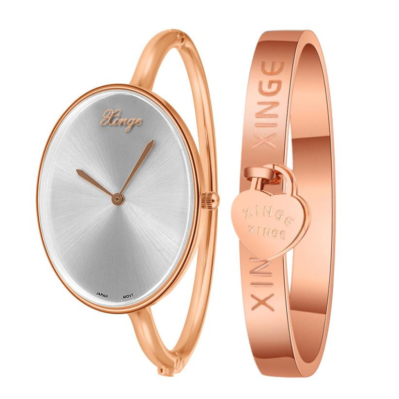 Hot Marketing Women Gold love Bangle Watch And Bracelet Set relogio feminino ladies watches montre femme WJul8 фото