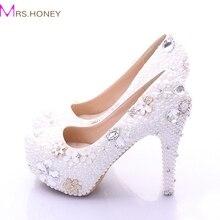 Большой размер белые женская обувь в продаже 2016 мода роскошный жемчуг кристаллы свадебные ну вечеринку выпускного вечера туфли на каблуках