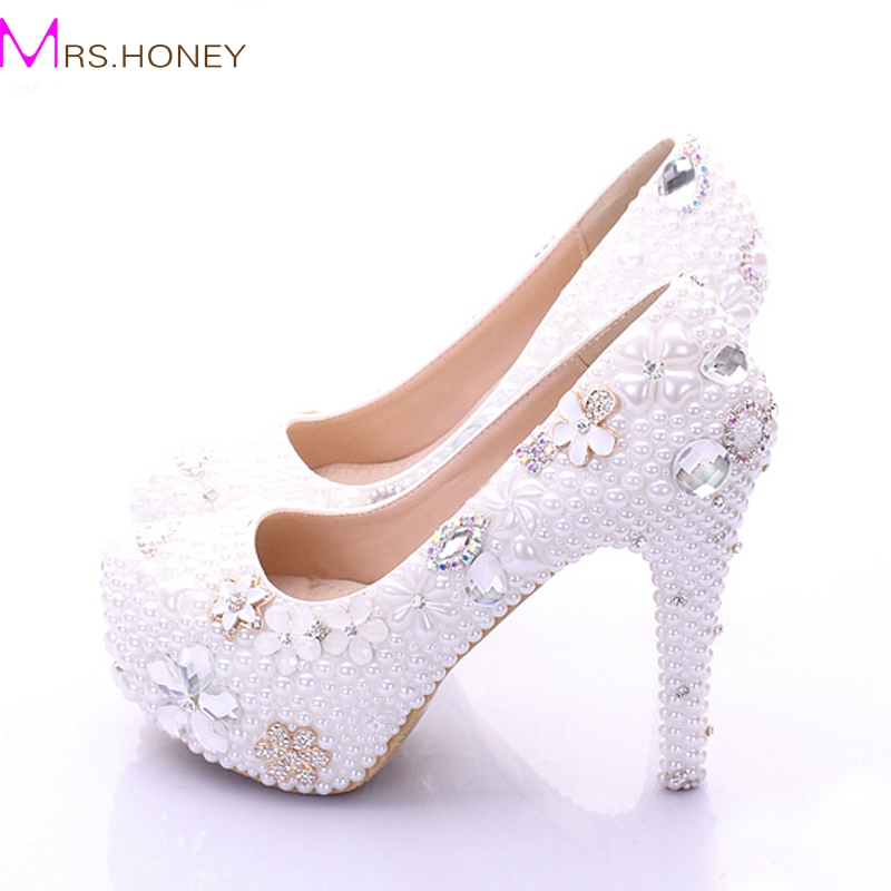 Plus Size Bridal Shoes White Womens Shoes on Sale 2017 Fashion Luxurious Pearls Crystals Wedding Party Prom High Heel Shoes frommer s® hawaii from $80 a day