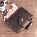 2017 New Handmade Leather original Retro Vintage genuine leather key bag male card bag female leather ultra-thin Wallet