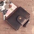 2017 Nuevo Hecho A Mano de Cuero original Retro de La Vendimia de cuero genuino bolso masculino bolso de la tarjeta ultra-delgada Billetera de cuero femenina