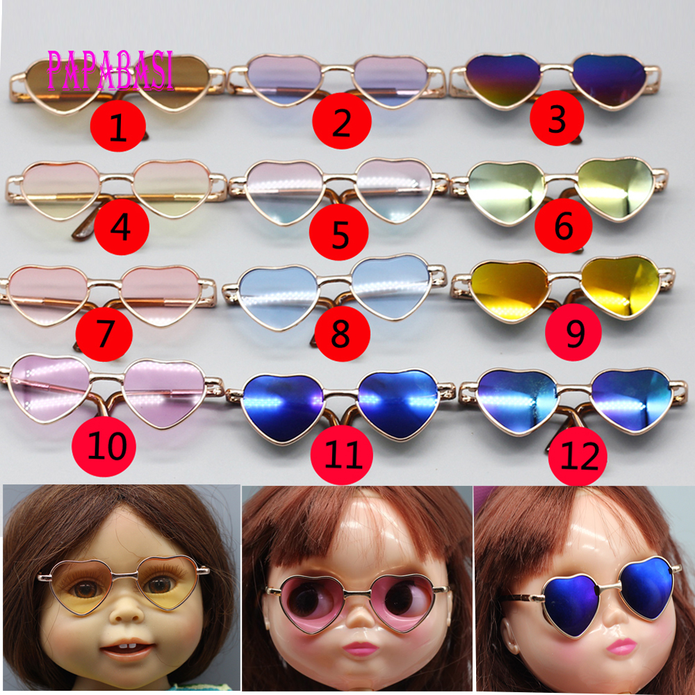 8.3cm Fashion Heart Shape Glasses For ICY BJD Blyth Doll Eyes Sunglasses as for 43cm American Girl Dolls Accessories new style doll accessories round shaped glasses sunglasses suitable for 1 3 bjd dolls mini doll glasses for dolls good quality