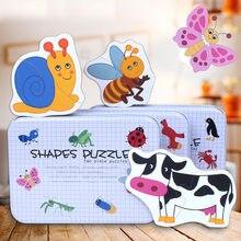 cbdbfaffe9 Bebé rompecabezas de dibujos animados de animales de caja de hierro de  aprendizaje inglés Carta