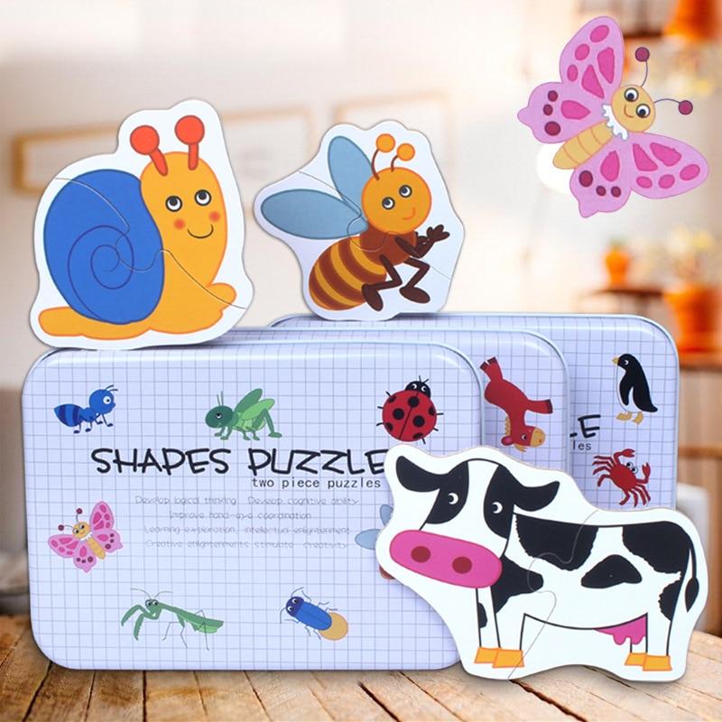 Baby Papier Puzzles Cartoon Schöne Tiere Sets Eisen Box Lernen Englisch Brief/Wort Passenden Puzzle Karte Puzzle Pädagogisches Spielzeug