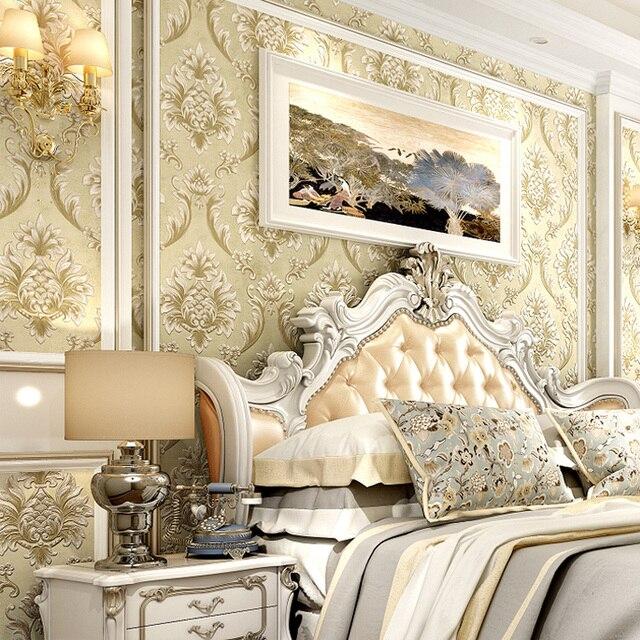 Hot Deluxe Damaskus 3D Tapete Schlafzimmer Wohnzimmer Sofa Blau Rosa ...