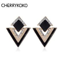 2018 Hot Selling Luxury Earrings Fashion Triangle Crystal Stud Earring For Women Vintage Earrings Jewelry