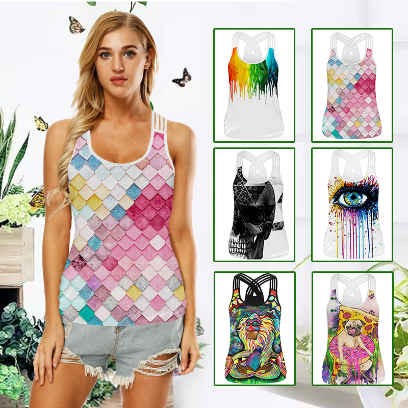 Yoga Vest Sleeveless Printed Slim Quick Drying Gym Yoga Sport Shirt Women Fitness Tank Sports Top Clothing Yoga Sports Shirts quick drying gym sports suits breathable suit compression top quality fitness women yoga sets two pieces running sports shirt