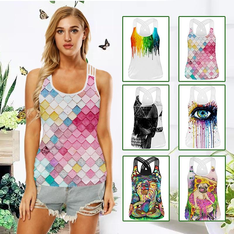 Yoga Vest Sleeveless Printed Slim Quick Drying Gym Yoga Sport Shirt Women Fitness Tank Top Sports Clothing Yoga Sports Shirts
