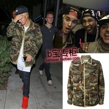 Justin bieber trend outerwear super handsome Camouflage overcoat