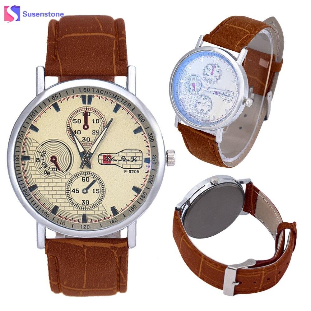 e438120ffec Moda Unissex Relógio de Pulso Das Mulheres dos homens Relógios de Luxo Top Marca  Casual Big Dial Pulseira De Couro Analógico Relógio de Quartzo Relógio De  ...